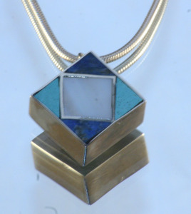 Pendant Sterling silver, Chilean Lapis Lazili, Azurite, Mother of Pearl