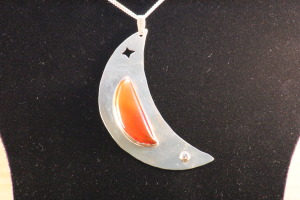 Crescent Moon Sterling silver, Carnelian