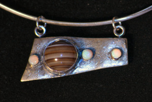 Moons of Jupiter Silver Clay, Onyx, Mother of pearl