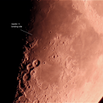 Crater Theophilus, Waxing Crescent Moon, 30% Image taken at Roberts Creek, 23rd May, 2015  Megrez 120mm, DSLR, stack of 100 images, Registax 6.0  Crater named after Greek astronomer who was the  Bishop of Alexandria from 385 AD. This is a large  crater at the edge of Mare Nectaris, 100km dia.  The terminator line was close by at the time, running along the Rupes Altai creating interesting vistas.  The crater is located about 400 km south of the Apollo 11 landing site.